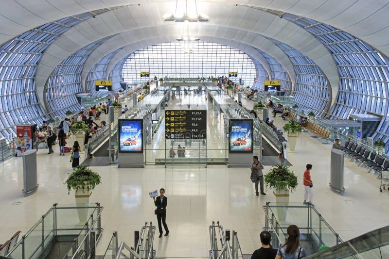 素万那普机场曼谷,服务曼谷的两国际机场之一的内部 免版税库存图片