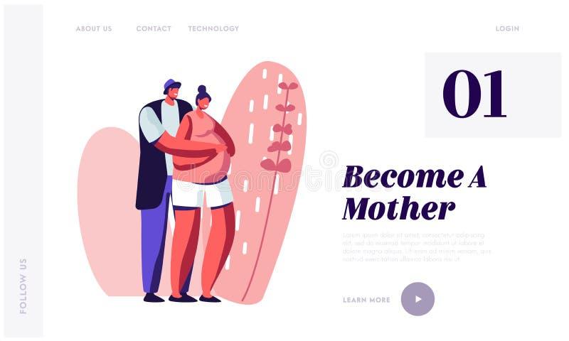 丈夫和妻子愉快的夫妇准备成为的父母 有大腹部的人拥抱的孕妇 年轻家庭等待的婴孩 库存例证
