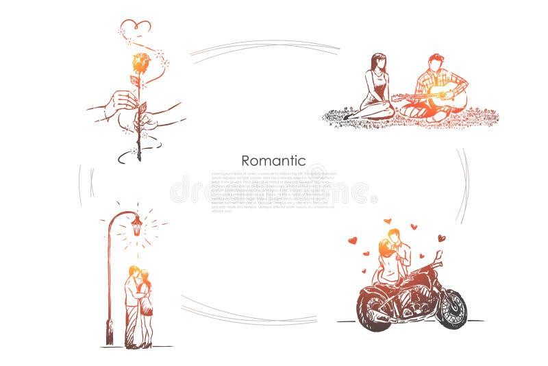 丈夫和妻子野餐、人弹吉他的,女朋友和男朋友的在日期,约会横幅 皇族释放例证