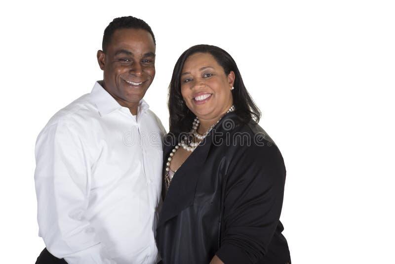 丈夫和妻子被隔绝反对白色背景 免版税图库摄影