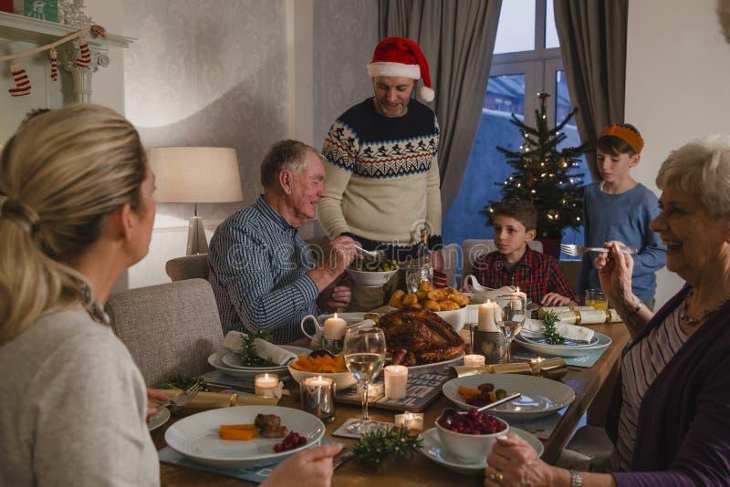 三一代家庭圣诞晚餐 库存照片