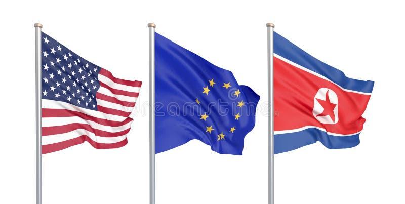三上色了在风的柔滑的旗子:美国美国,在白色隔绝的E。-欧盟和北朝鲜 3d 向量例证