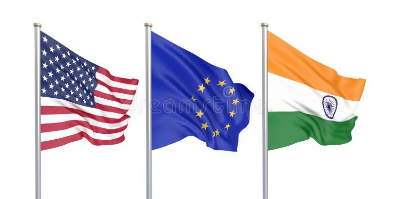 三上色了在风的柔滑的旗子:美国美国,在白色隔绝的E。-欧盟和印度 3d 向量例证