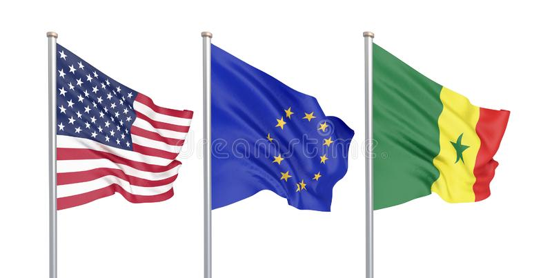 三上色了在风的柔滑的旗子:美国美国,在白色隔绝的E。-欧盟和塞内加尔 3d 库存例证
