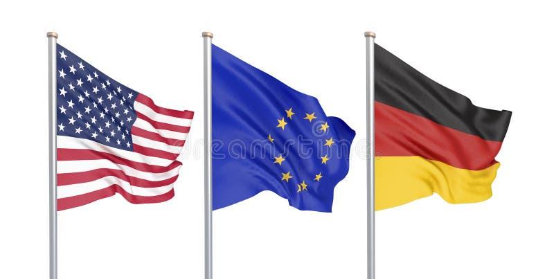 三上色了在风的柔滑的旗子:美国美国,在白色隔绝的E。-欧盟和德国 3d 向量例证