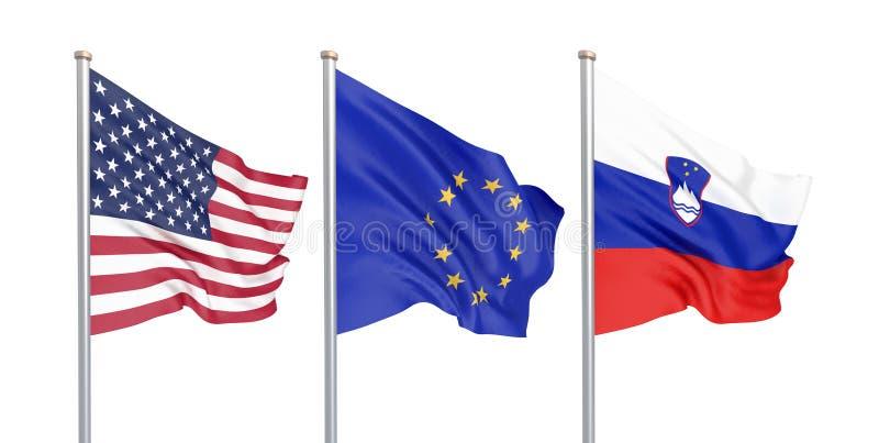 三上色了在风的柔滑的旗子:美国美国,在白色隔绝的E。-欧盟和斯洛文尼亚 3d 向量例证