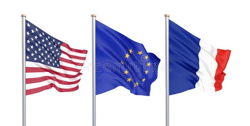 三上色了在风的柔滑的旗子:美国美国,在白色隔绝的E。-欧盟和法国 3d 库存例证