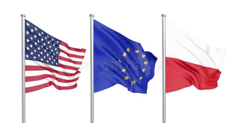 三上色了在风的柔滑的旗子:美国美国,在白色隔绝的E。-欧盟和波兰 3d 向量例证