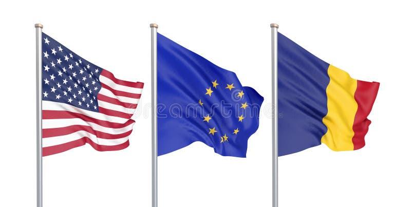 三上色了在风的柔滑的旗子:美国美国,在白色隔绝的E。-欧盟和罗马尼亚 3d 向量例证
