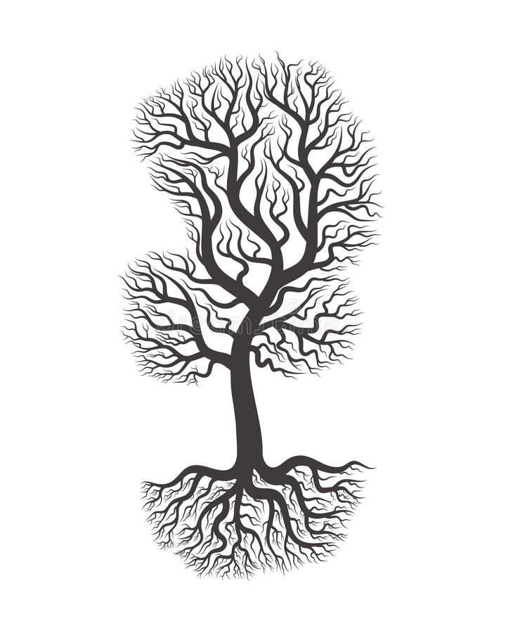 三与根的充分的黑树 皇族释放例证