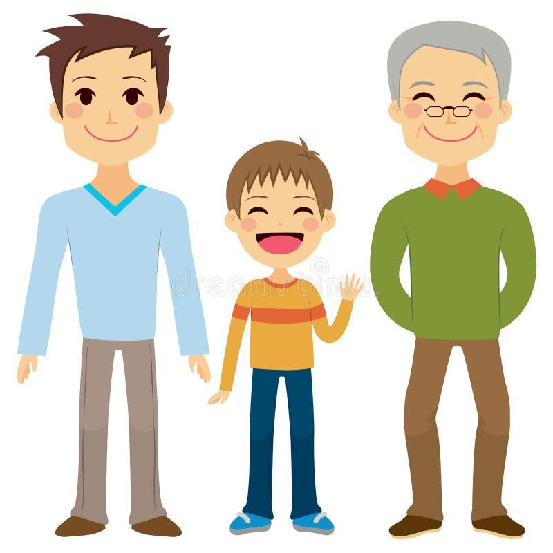 三个一代人 向量例证