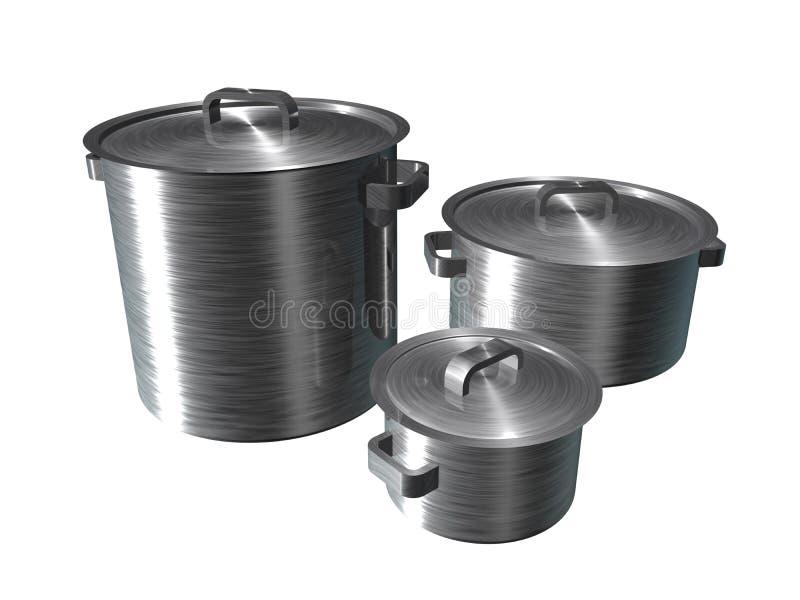 三个不锈钢平底锅的例证 向量例证