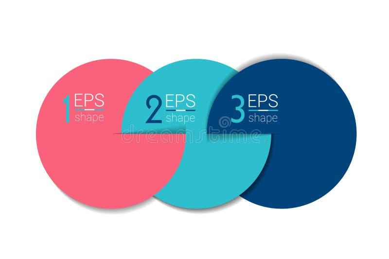 三个企业元素横幅,模板 3步设计,绘制, infographic,逐步的数字选择,布局 库存例证