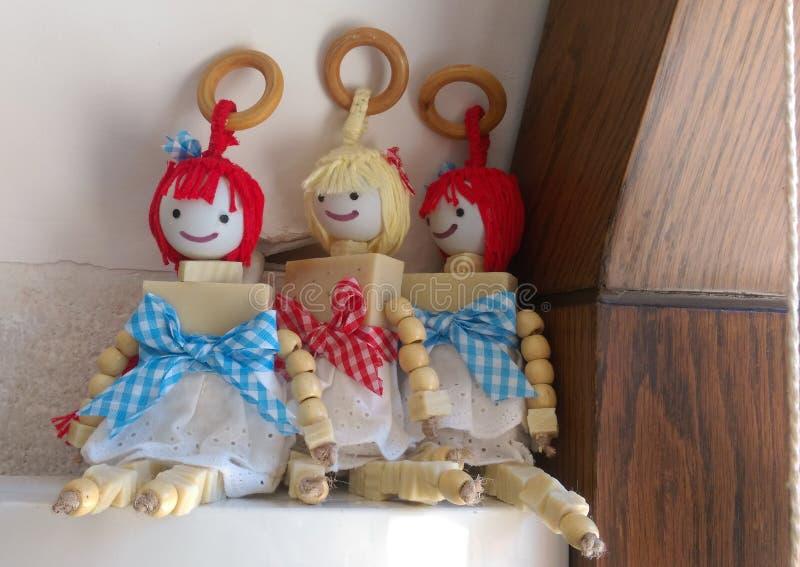 三个传统肥皂玩具 库存照片