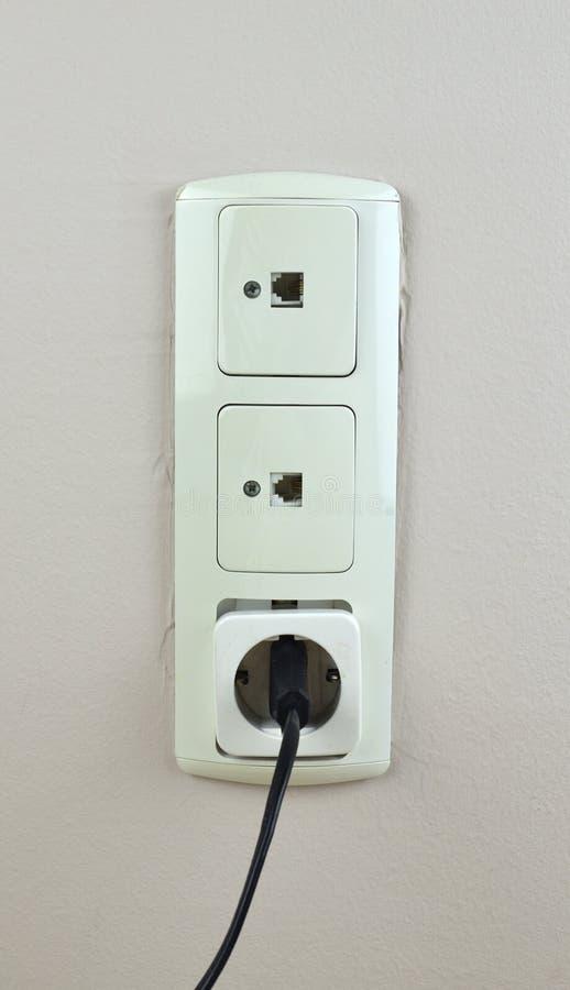 三个使用的插口 库存图片