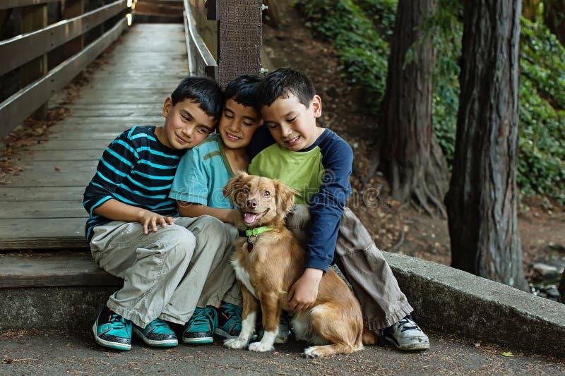 三个兄弟和他们的小狗 免版税库存照片