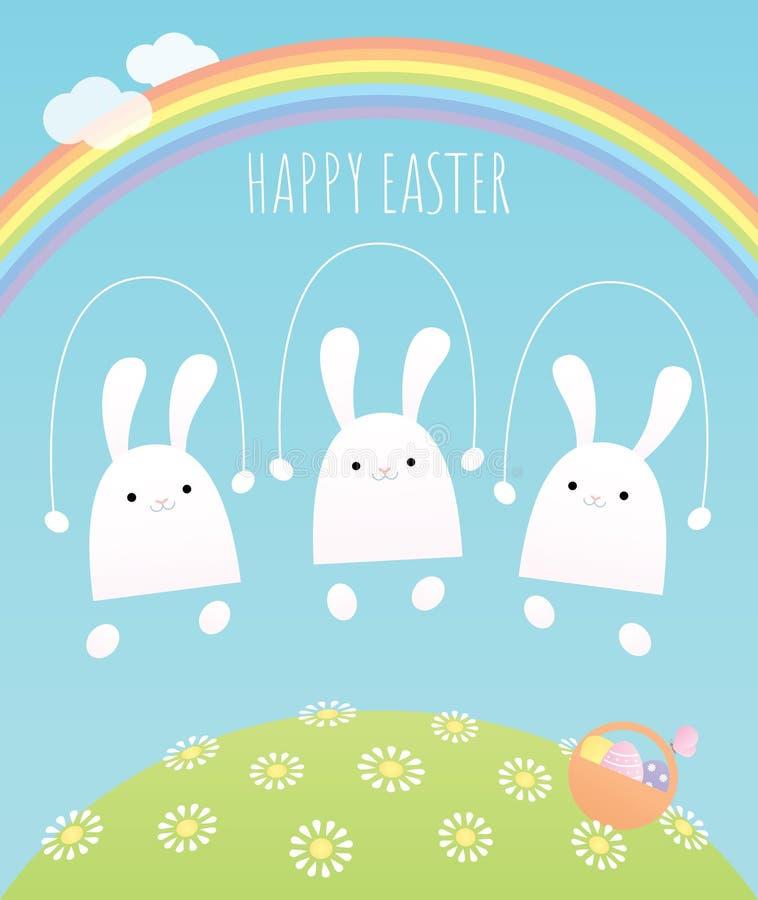 三个兔宝宝跳绳 向量例证