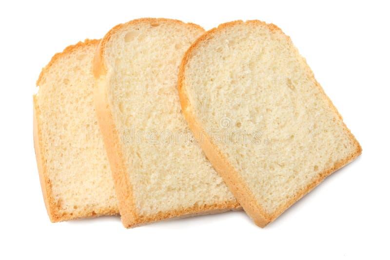 三个切片敬酒在白色背景隔绝的面包 库存照片
