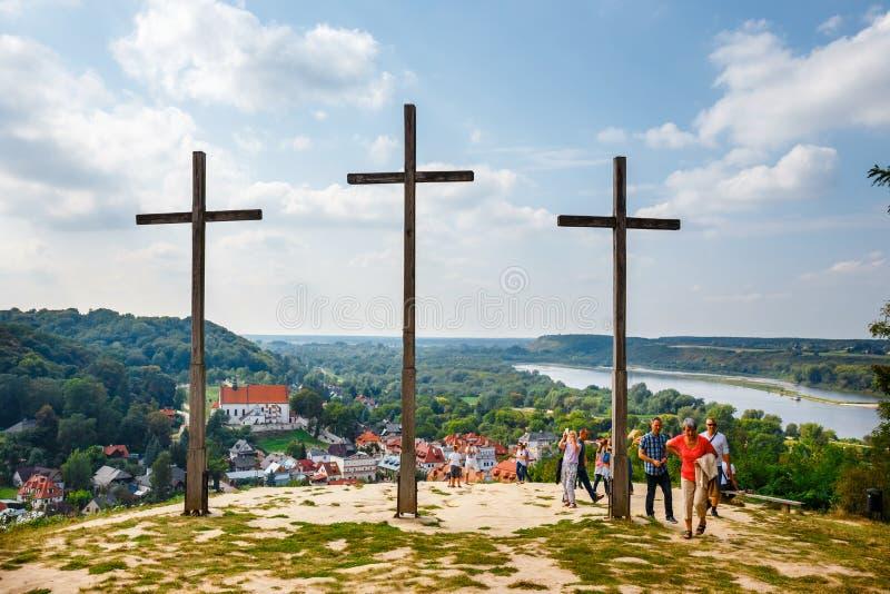 三个十字架'小山在卡齐米日多尔尼,波兰 库存图片