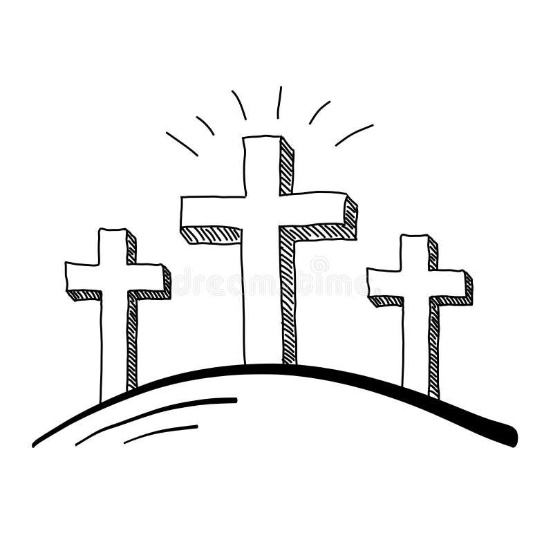 三个十字架乱画 皇族释放例证