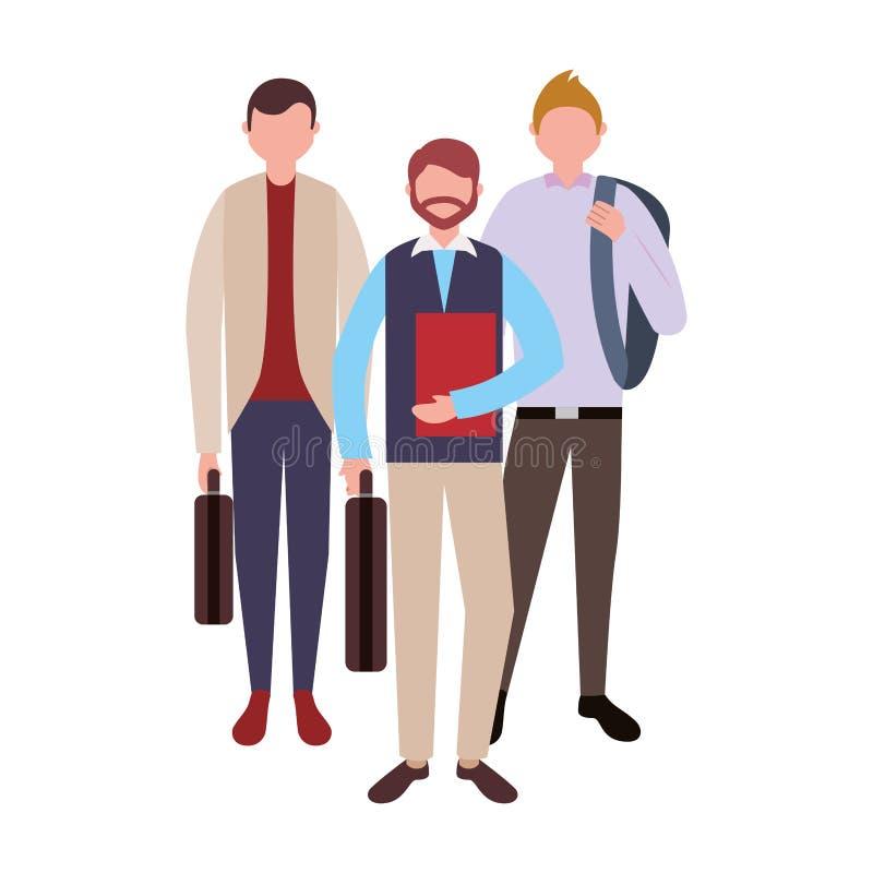 三个商人配合人字符 库存例证