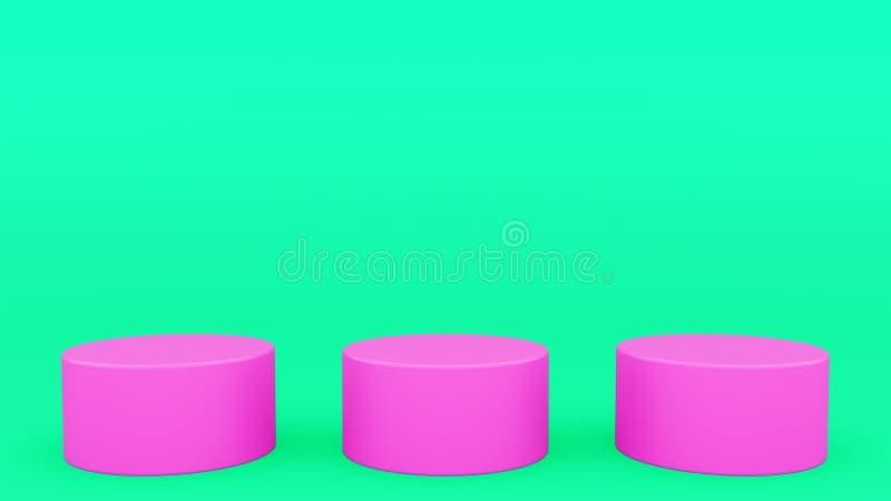 三个圆柱形指挥台绿色和回报现代minimalistic嘲笑的桃红色场面最小的3d,空白的模板,空的陈列室 皇族释放例证