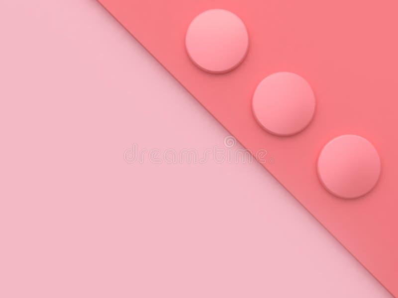 三个圈子形状桃红色被掀动的角落软的桃红色背景最小的摘要3d回报 向量例证