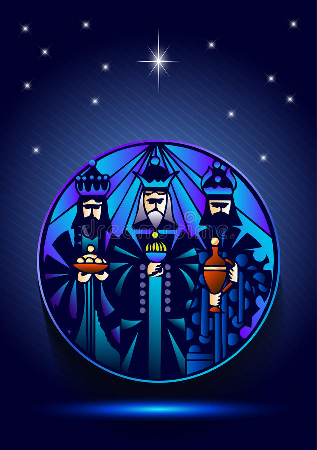 三个圣人在他的诞生以后拜访耶稣基督 库存例证