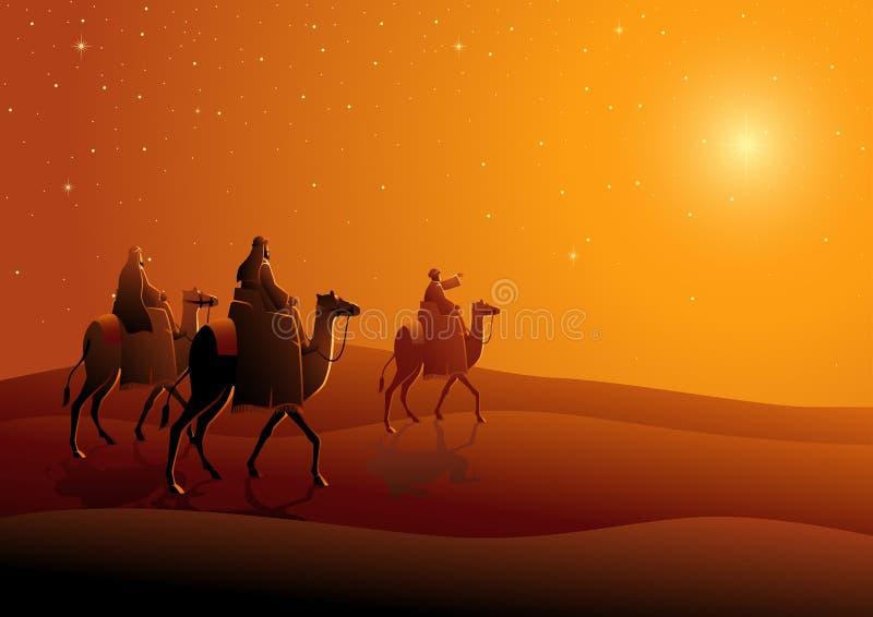 三个圣人,旅途向伯利恒 库存例证