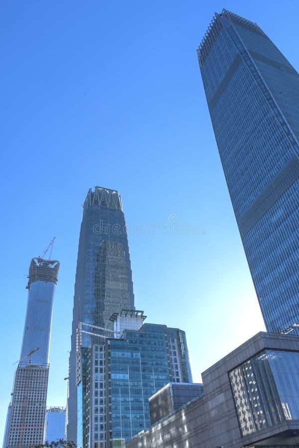 三个大摩天大楼世界贸易中心Z15塔北京池氏 库存照片