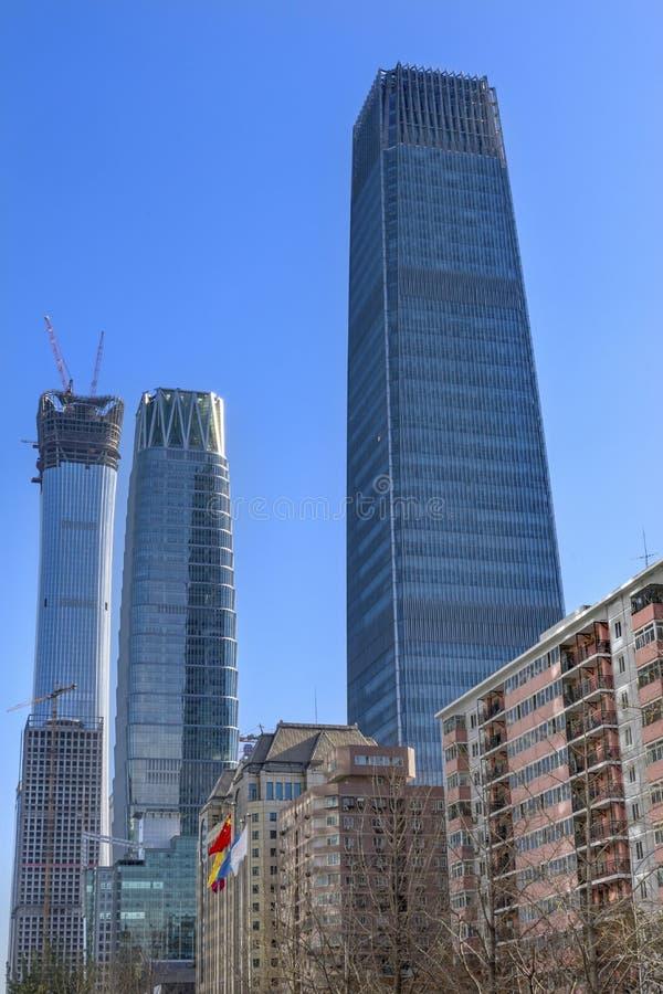 三个大摩天大楼世界贸易中心Z15塔北京池氏 免版税图库摄影