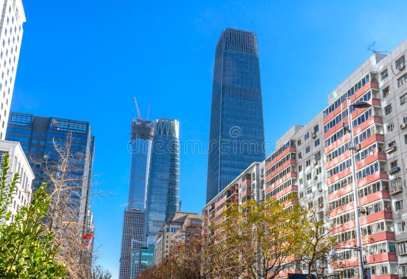 三个大摩天大楼世界贸易中心Z15塔北京池氏 库存图片