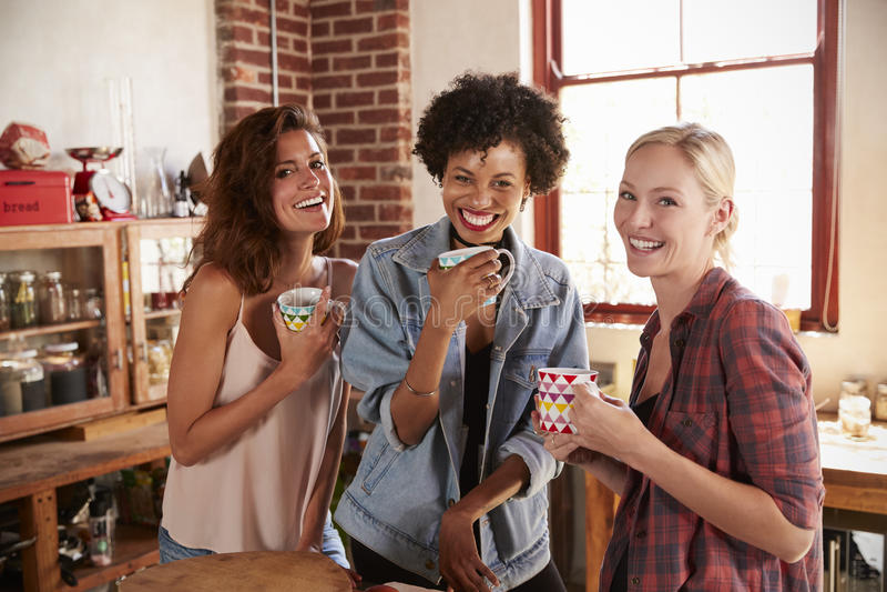 三个女朋友在厨房查寻对照相机,关闭 免版税库存照片