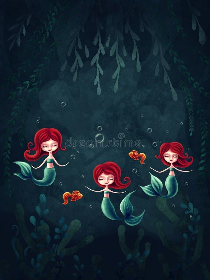 三个小的美人鱼 向量例证