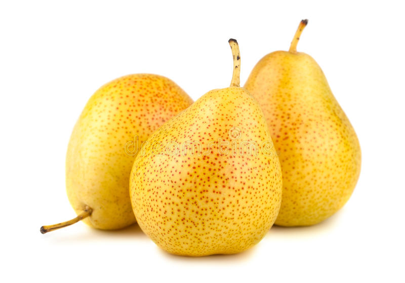 三个成熟黄色梨 库存图片