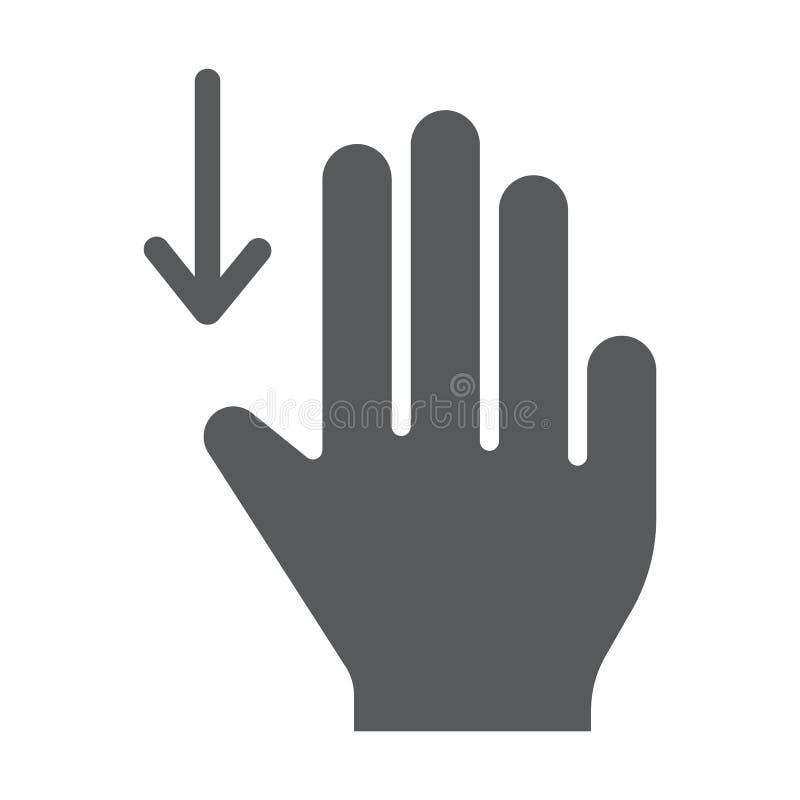 三个手指扯拽下来纵的沟纹象,姿态,并且手,移动在标志,向量图形,在白色的一个坚实样式下 向量例证