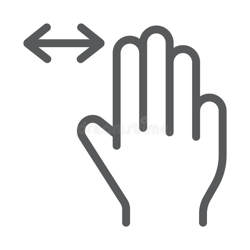 三个手指水平的纸卷线象,姿态和手,轻打标志,向量图形,在白色的一个线性样式 向量例证