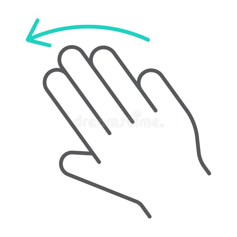 三个手指甩左稀薄的线象,姿态,并且手,点击标志,向量图形,在白色的一个线性样式 皇族释放例证