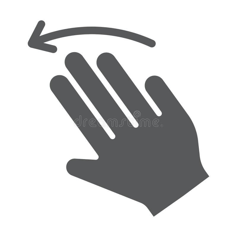 三个手指甩左纵的沟纹象,姿态,并且手,点击标志,向量图形,在白色的一个坚实样式 库存例证