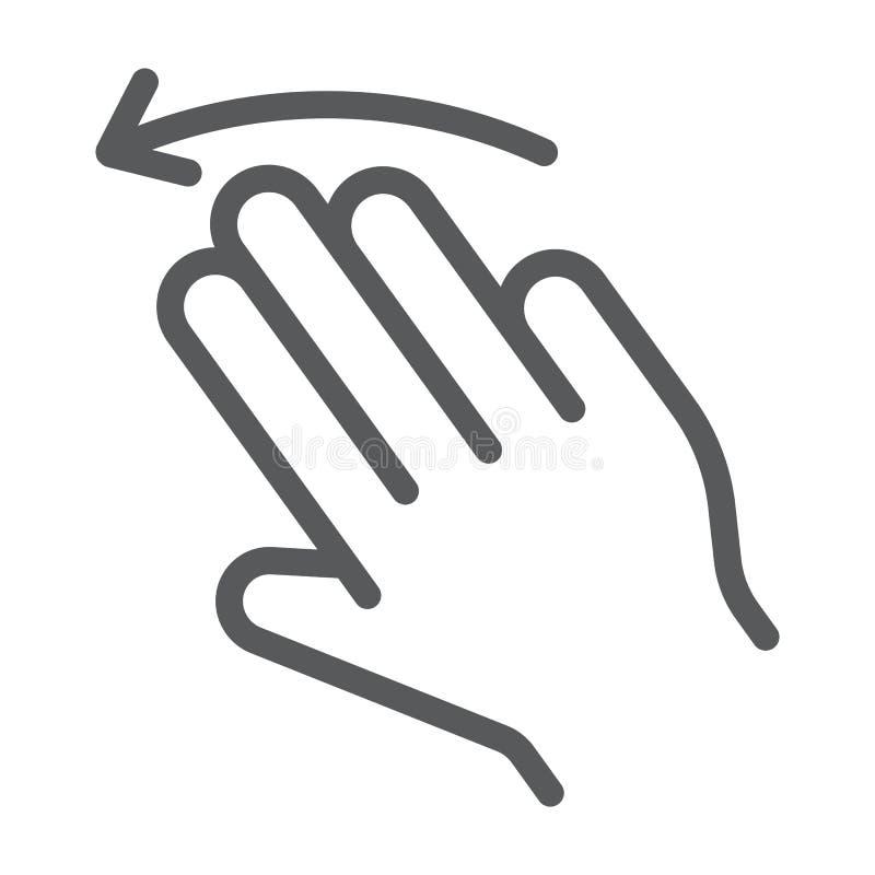 三个手指甩左线象,姿态,并且手,点击标志,向量图形,在白色的一个线性样式 皇族释放例证