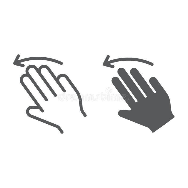 三个手指甩左线,并且纵的沟纹象、姿态和手,点击标志,向量图形,在白色的一个线性样式 向量例证