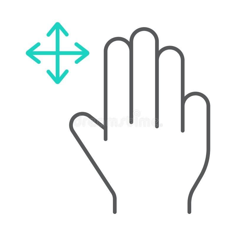 三个手指自由阻力稀薄的线象,姿态和手,重击标志,向量图形,在白色的一个线性样式 皇族释放例证