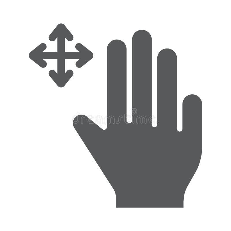 三个手指自由阻力纵的沟纹象、姿态和手,重击标志,向量图形,在白色背景的一个坚实样式 向量例证