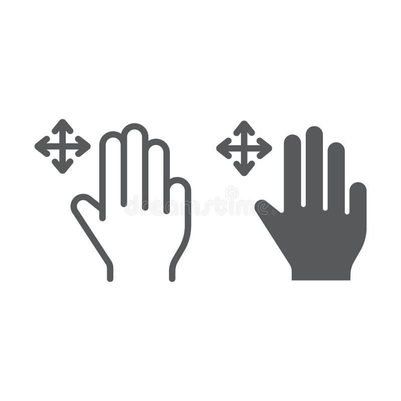 三个手指自由阻力线和纵的沟纹象、姿态和手,重击标志,向量图形,在白色的一个线性样式 皇族释放例证