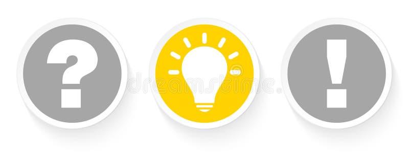 三个按钮对想法表示怀疑和答复灰色和黄色 皇族释放例证