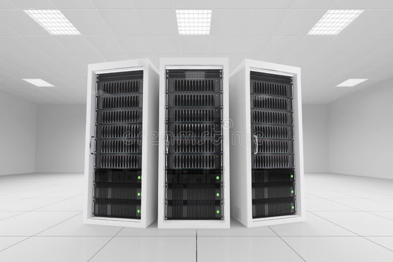 三个数据机架在服务器屋子里 皇族释放例证