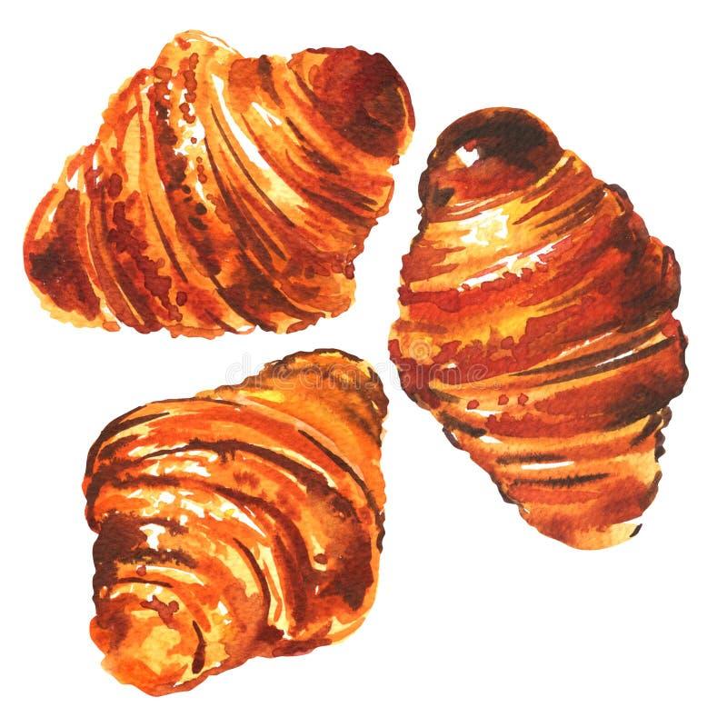 三个新近地被烘烤的微型新月形面包,法国早餐,食物,在白色的被隔绝的,手拉的水彩例证 皇族释放例证
