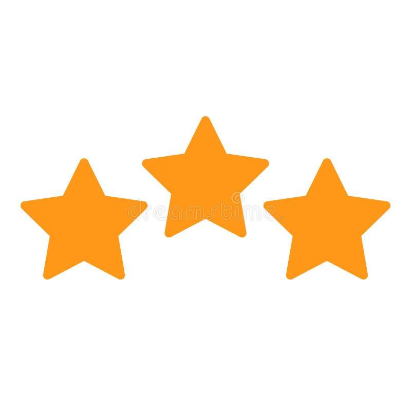 三个星,对估计的标志,顾客回顾–传染媒介 库存例证