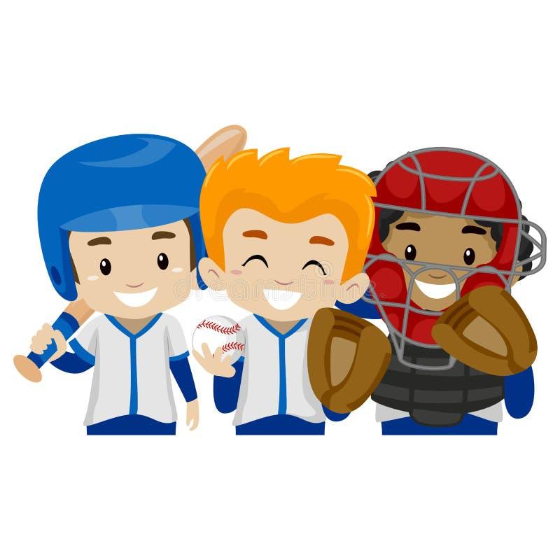 三个棒球运动员孩子 库存例证