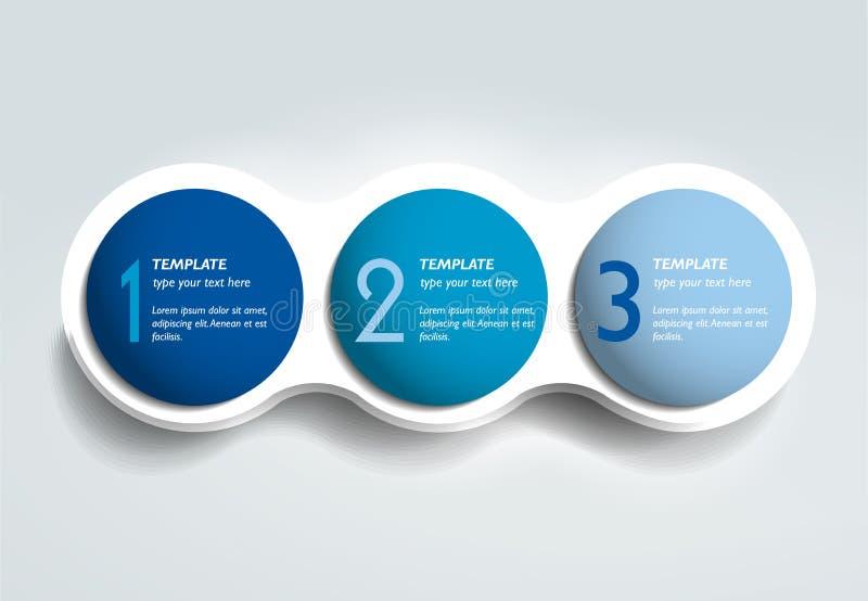 三个步元素泡泡图,计划,图,模板 向量例证